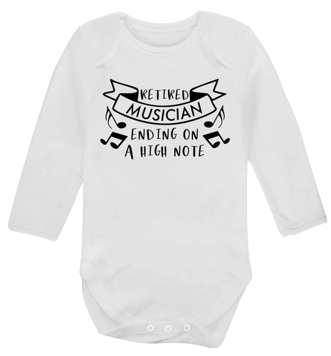 Retired musician ending on a high note Baby Vest long sleeved white 6-12 months