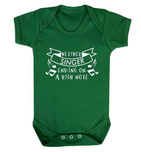 Retired singer ending on a high note Baby Vest green 18-24 months