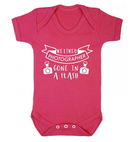 Retired photographer gone in a flash Baby Vest dark pink 18-24 months
