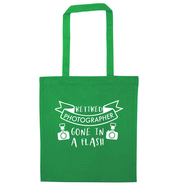 Retired photographer gone in a flash green tote bag