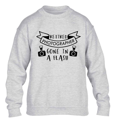 Retired photographer gone in a flash children's grey sweater 12-13 Years