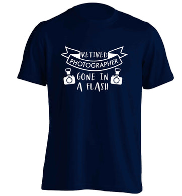 Retired photographer gone in a flash adults unisex navy Tshirt 2XL