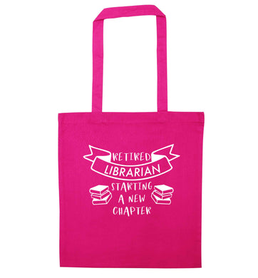 Retired librarian keep your hair on pink tote bag