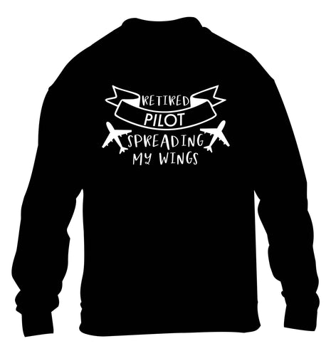 Retired pilot spreading my wings children's black sweater 12-13 Years