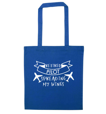 Retired pilot spreading my wings blue tote bag