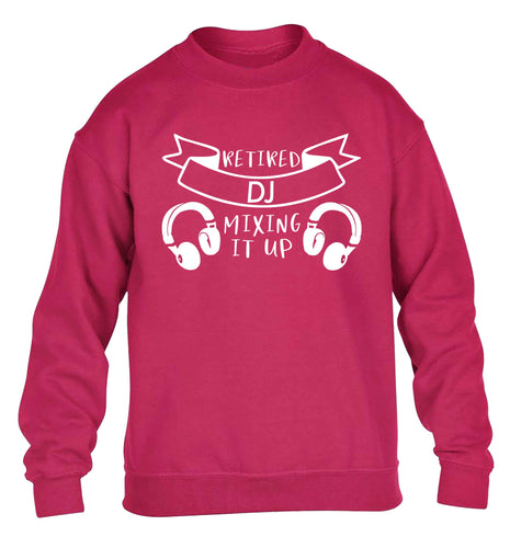 Retired DJ mixing it up children's pink sweater 12-13 Years