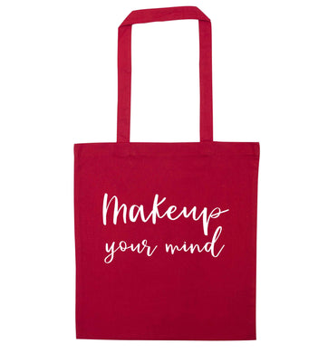 Makeup your mind red tote bag