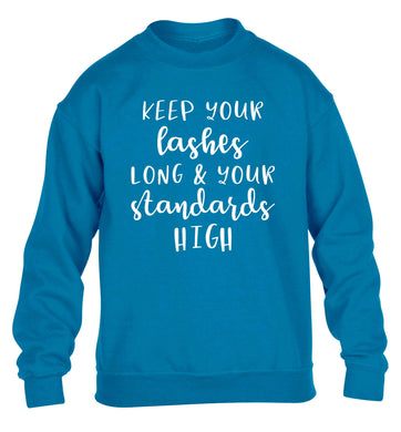 Keep your lashes long and your standards high children's blue sweater 12-13 Years