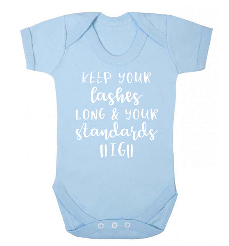 Keep your lashes long and your standards high Baby Vest pale blue 18-24 months