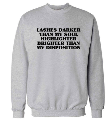 Lashes darker than my soul, highlighter brighter than my disposition Adult's unisex grey Sweater 2XL