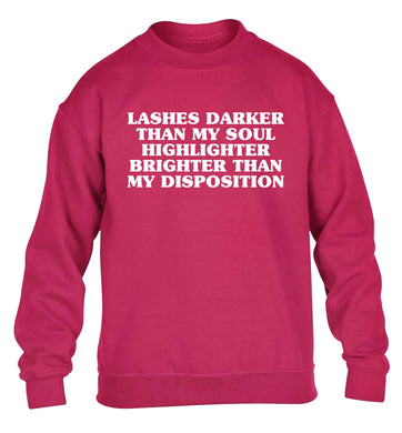 Lashes darker than my soul, highlighter brighter than my disposition children's pink sweater 12-13 Years