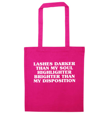 Lashes darker than my soul, highlighter brighter than my disposition pink tote bag
