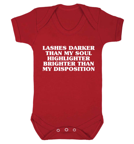 Lashes darker than my soul, highlighter brighter than my disposition Baby Vest red 18-24 months
