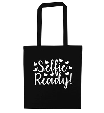 Selfie ready black tote bag