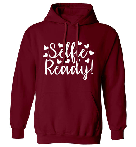 Selfie ready adults unisex maroon hoodie 2XL