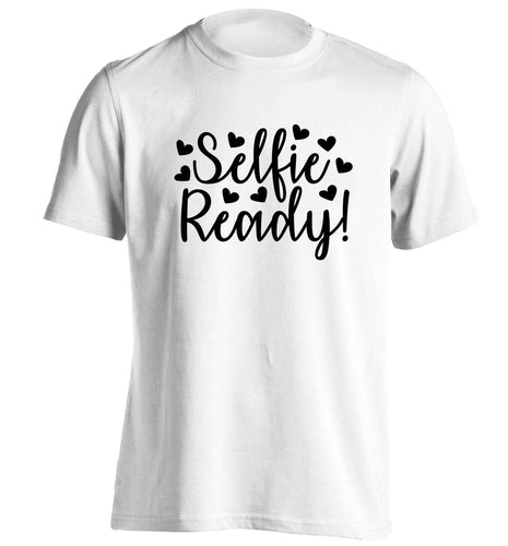 Selfie ready adults unisex white Tshirt 2XL