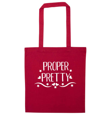 Proper pretty red tote bag