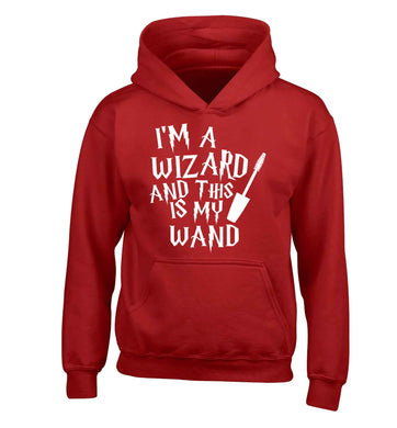 I'm a wizard and this is my wand children's red hoodie 12-13 Years