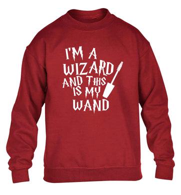I'm a wizard and this is my wand children's grey sweater 12-13 Years