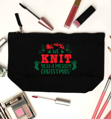 We knit you a merry Christmas black makeup bag