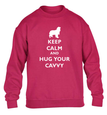 Keep calm and hug your cavvy children's pink sweater 12-13 Years