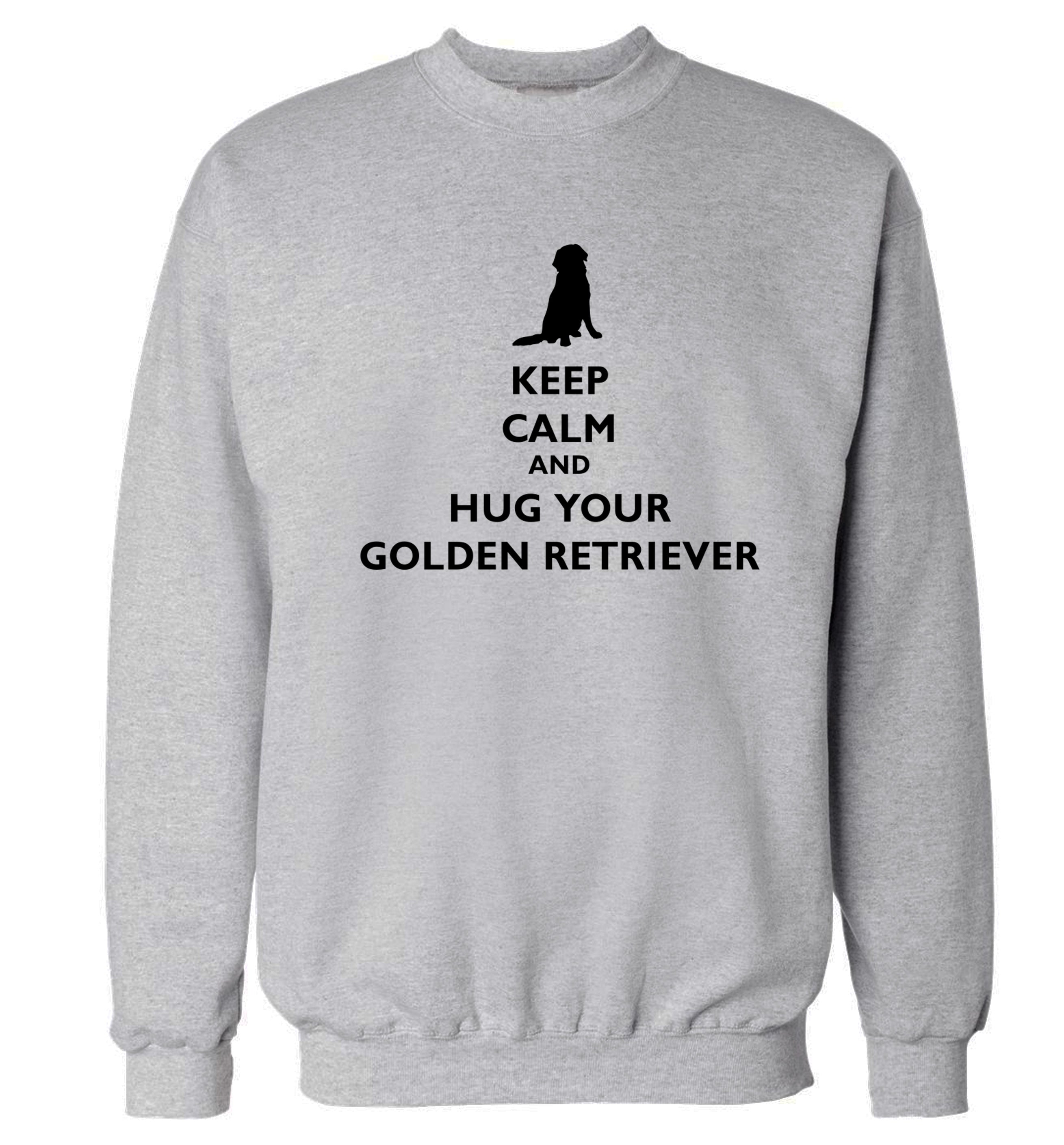 Keep calm and hug your golden retriever Adult's unisex grey Sweater 2XL