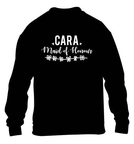 Personalised maid of honour children's black sweater 12-13 Years