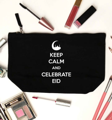 Keep calm and celebrate Eid black makeup bag