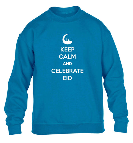 Keep calm and celebrate Eid children's blue sweater 12-13 Years