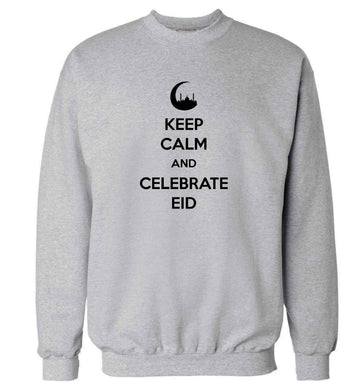 Keep calm and celebrate Eid adult's unisex grey sweater 2XL
