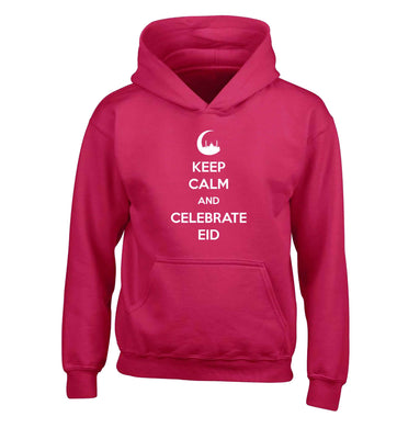 Keep calm and celebrate Eid children's pink hoodie 12-13 Years