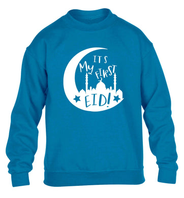 It's my first Eid moon children's blue sweater 12-13 Years