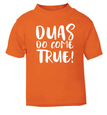 Duas do come true orange baby toddler Tshirt 2 Years