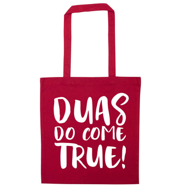 Duas do come true red tote bag