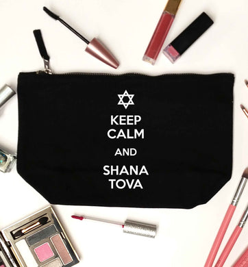 Keep calm and shana tova black makeup bag