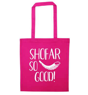 Shofar so good! pink tote bag