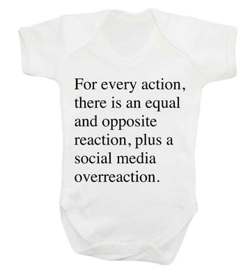 For every action...social media overreaction Baby Vest white 18-24 months