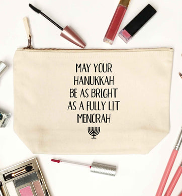May your hanukkah be as bright as a fully lit menorah natural makeup bag