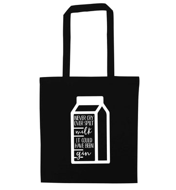 Never cry over spilt milk, it could have been gin black tote bag
