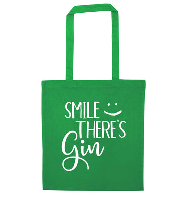Smile there's gin green tote bag