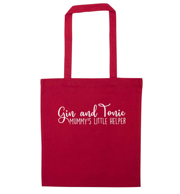 Gin and Tonic mummy's little helper red tote bag