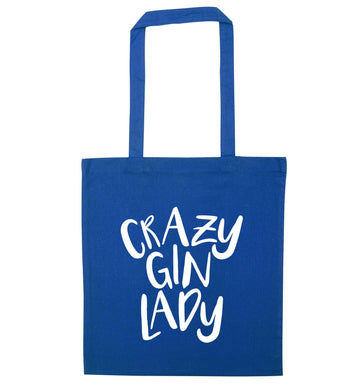 Crazy gin lady blue tote bag