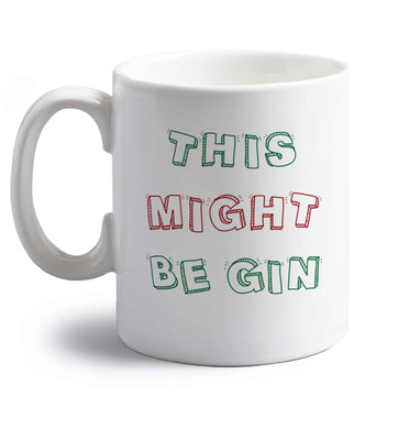 This might be gin right handed white ceramic mug