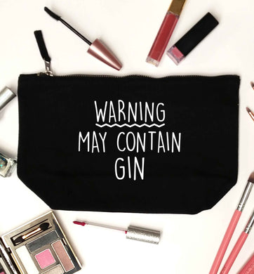 Warning may contain gin black makeup bag