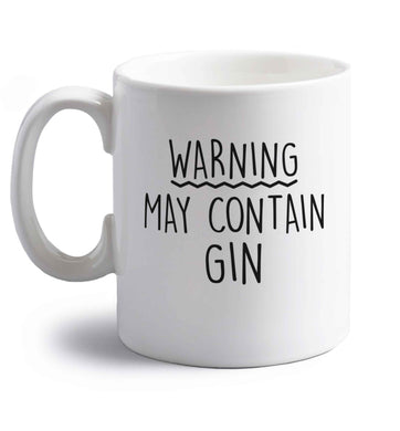 Warning may contain gin right handed white ceramic mug
