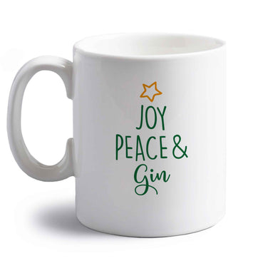 Joy peace and gin right handed white ceramic mug