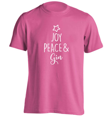 Joy peace and gin adults unisex pink Tshirt 2XL