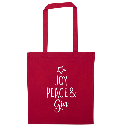 Joy peace and gin red tote bag