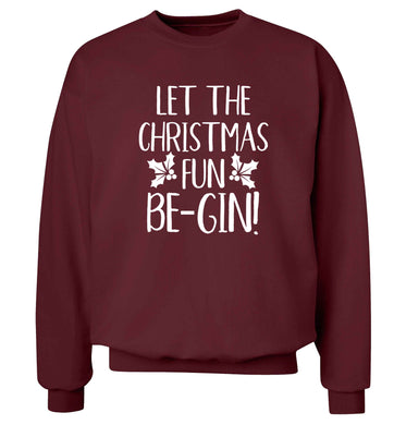 Let the christmas fun be-gin Adult's unisex maroon Sweater 2XL