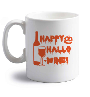 Happy hallow-wine right handed white ceramic mug